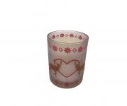 Kerze im Glas mit Wintermotiv Ø10,5 cm von Werner Voss Weiss / Rot