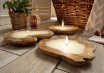 Kerzenschale FULL 1 Stück Teak Holz Natur Hellbraun