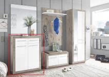 Schuhkommode 2-trg 2 Schubkästen Garderobe Kolibri von First Look Sandeiche / Weiß Hgl