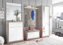 Sitzbank 2-trg Garderobe Kolibri von First Look Sandeiche / Weiß Hgl