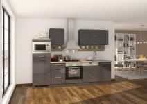 Küchenblock 280 inkl E-Geräte von PKM (5 tlg) MAILAND von Held Möbel Graphit / Eiche Sonoma