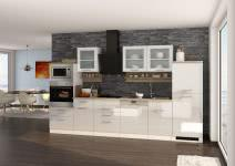 Küchenblock 340 inkl E-Geräte von PKM, Geschirrspüler Induktion autark (6 tlg) MAILAND von Held Möbel Weiss / Eiche Sonoma