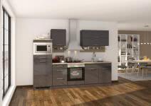 Küchenblock inkl E-Geräte 270 cm breit MAILAND 270 von Held Möbel Grafit / Hochglanz Grau