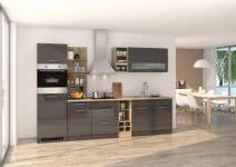 Küchenblock inkl E-Geräte 300 cm breit MAILAND 300 von Held Möbel Grafit / Hochglanz Grau