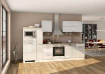 Küchenblock inkl E-Geräte und Apothekerschrank 310 cm breit MAILAND 310GA von Held Möbel Weiss / Hochglanz Weiss
