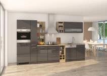 Küchenblock inkl E-Geräte und Apothekerschrank 340 cm breit MAILAND 340GA von Held Möbel Grafit / Hochglanz Grau