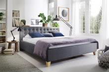 LUCCA von Meise Möbel Polsterbett Stoffbezug CORSICA grau / Fuß Eiche massiv