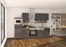 Küchenblock inkl E-Geräte und Geschirrspüler teilintegriert 280 cm breit MAILAND 280GS von Held Möbel Grafit / Hochglanz Grau