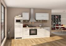 Küchenblock inkl E-Geräte und Geschirrspüler teilintegriert 280 cm breit MAILAND 280GS von Held Möbel Weiss / Hochglanz Weiss