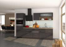 Küchenblock inkl E-Geräte 290 cm breit MAILAND 290 von Held Möbel Grafit / Hochglanz Grau