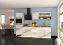 Küchenblock inkl E-Geräte 290 cm breit MAILAND 290 von Held Möbel Weiss / Hochglanz Weiss