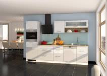 Küchenblock inkl E-Geräte und Geschirrspüler teilintegriert 300 cm breit MAILAND 300GS von Held Möbel Weiss / Hochglanz Weiss