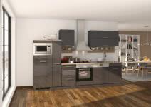 Küchenblock inkl E-Geräte und Apothekerschrank 310 cm breit MAILAND 310GA von Held Möbel Grafit / Hochglanz Grau