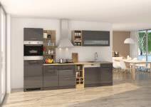 Küchenblock inkl E-Geräte und Geschirrspüler teilintegriert 310 cm breit MAILAND 310GS von Held Möbel Grafit / Hochglanz Grau