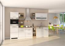 Küchenblock inkl E-Geräte und Geschirrspüler teilintegriert 310 cm breit MAILAND 310GS von Held Möbel Weiss / Hochglanz Weiss
