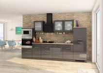 Küchenblock inkl E-Geräte 330 cm breit MAILAND 330 von Held Möbel Grafit / Hochglanz Grau