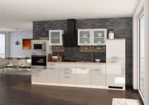 Küchenblock inkl E-Geräte 330 cm breit MAILAND 330 von Held Möbel Weiss / Hochglanz Weiss