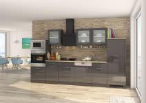 Küchenblock inkl E-Geräte und Geschirrspüler teilintegriert 340 cm breit MAILAND 340GS von Held Möbel Grafit / Hochglanz Grau