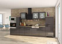 Küchenblock inkl E-Geräte und Apothekerschrank 370 cm breit MAILAND 370GA von Held Möbel Grafit / Hochglanz Grau