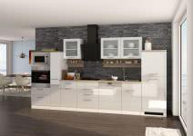 Küchenblock inkl E-Geräte und Apothekerschrank 370 cm breit MAILAND 370GA von Held Möbel Weiss / Hochglanz Weiss