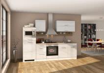 Küchenblock inkl E-Geräte 270 cm breit MAILAND 270 von Held Möbel Weiss / Hochglanz Weiss