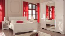 Schlafzimmer-Set 4-tlg inkl 140x200 Bett u Kleiderschrank Marion 3 von Parisot Kiefer Weiss