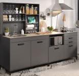 Einbauküche 3-tlg ohne E-Geräte Moove 2 von Parisot Grau / Eiche hell