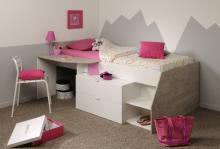 90x200 Hochbett inkl Schreibtisch u 2 Schubladen Milky a von Parisot Weiß / Grey Loft