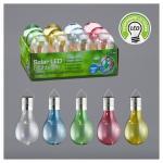 Outdoor 2er Set LED Solar-Hängeleuchte Birne von CEPEWA Blau / Grün / Gelb / Klar