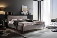 PAULA von Meise Möbel Polsterbett Stoffbezug PORTO taupe / Fuß Eiche massiv
