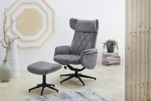 Relax Chair inkl Hocker VERONA von Pro Com Samt grau