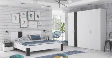 Schlafzimmer Set 4-tlg HELANA-2 von Forte Weiss / Schwarz matt
