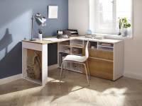 Schreibtisch inkl Regal OFFICE 4021 von MAJA Weiss matt / Riviera Eiche