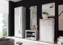 Schuhkommode STONE von First Look Beton / Weiß glanz