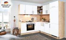 Winkelküche CINDY 239 inkl E-Geräte 250 x 285 cm von Burger Weiß matt / Island Ahorn