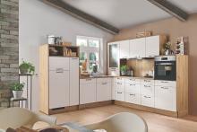 Winkelküche FRIEDA 413 Magnolie Seidenmatt / Natural Oak