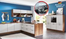 Winkelküche SPEED 351 inkl E-Geräte 340 x 180 cm von Nobilia Seidengrau / Eiche Havanna