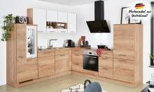 Winkelküche Structura 405 / Speed 351 inkl E-Geräte 245 x 285 cm von Nobilia Eiche Sierra / Alpinweiß