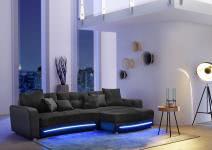 Wohnlandschaft inkl LED Beleuchtung u Soundsystem Laredo von JOB Schwarz