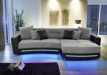 Wohnlandschaft inkl LED Beleuchtung u Soundsystem Laredo von JOB Schwarz / Grau