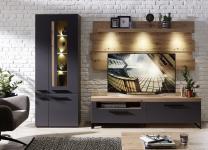 Wohnwand 3-tlg ca 288 cm breit inkl LED-Beleuchtung Loft-Two von Innostyle Artisan Eiche / Graphit supermatt