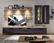 Wohnwand 5-tlg ca 314 cm breit inkl LED-Beleuchtung Loft-Two von Innostyle Artisan Eiche / Graphit supermatt