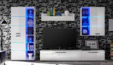 Anbauwand inkl. LED-Beleuchtung Blau Milo von HBZ Weiß
