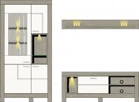 Wohwand 3-tlg inkl. LED-Beleuchtung ca 266 cm breit Granada von Wohnconcept Haveleiche / Weiss supermatt