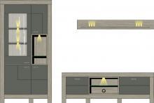 Wohwand 3-tlg inkl. LED-Beleuchtung ca 296 cm breit Granada von Wohnconcept Haveleiche / Beton dunkel