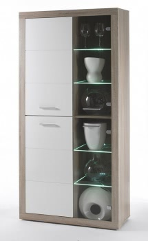 vitrine eiche sonoma weiss hochglanz mit glaseinheiten. Black Bedroom Furniture Sets. Home Design Ideas