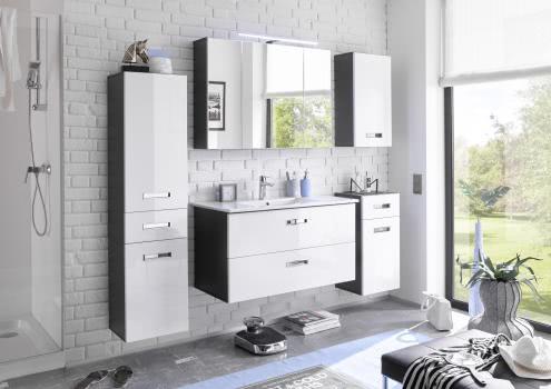 Badezimmer-Set 5 tlg MANHATTAN von Bega Weiss HG / Grau