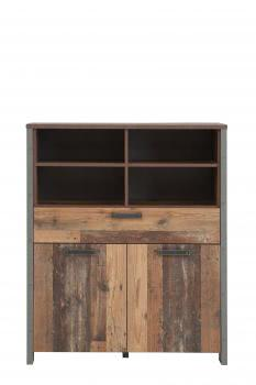 Highboard CLIF von Forte Old-Wood Vintage / Beton