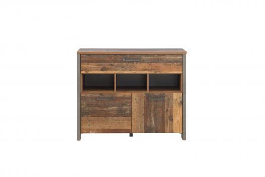 Sideboard 2-trg 1 Schubkästen CLIF von Forte Old-Wood Vintage / Beton
