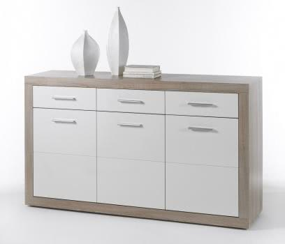 sideboard eiche sonoma weiss hochglanz. Black Bedroom Furniture Sets. Home Design Ideas